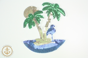 XL TROPICAL ISLAND - PATCH - PALMEN - BLUE FLAMINGO - SUNDOWNER - INSEL - SOMMER - AUFNÄHER