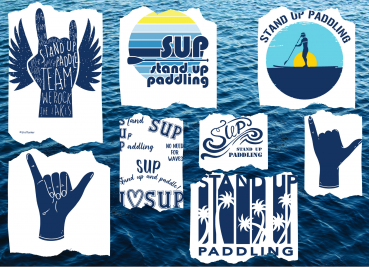 PLOTTERDATEI - SUP - STAND UP PADDLING - ROCK THE LAKES - STATEMENTS - 15 EINZELDATEIEN - XXL SET