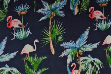 VISKOSE - FLAMINGO - PALMEN - TROPICAL - HAWAII - HEMDENSTOFF - COCONUT - BUNT - NAVY