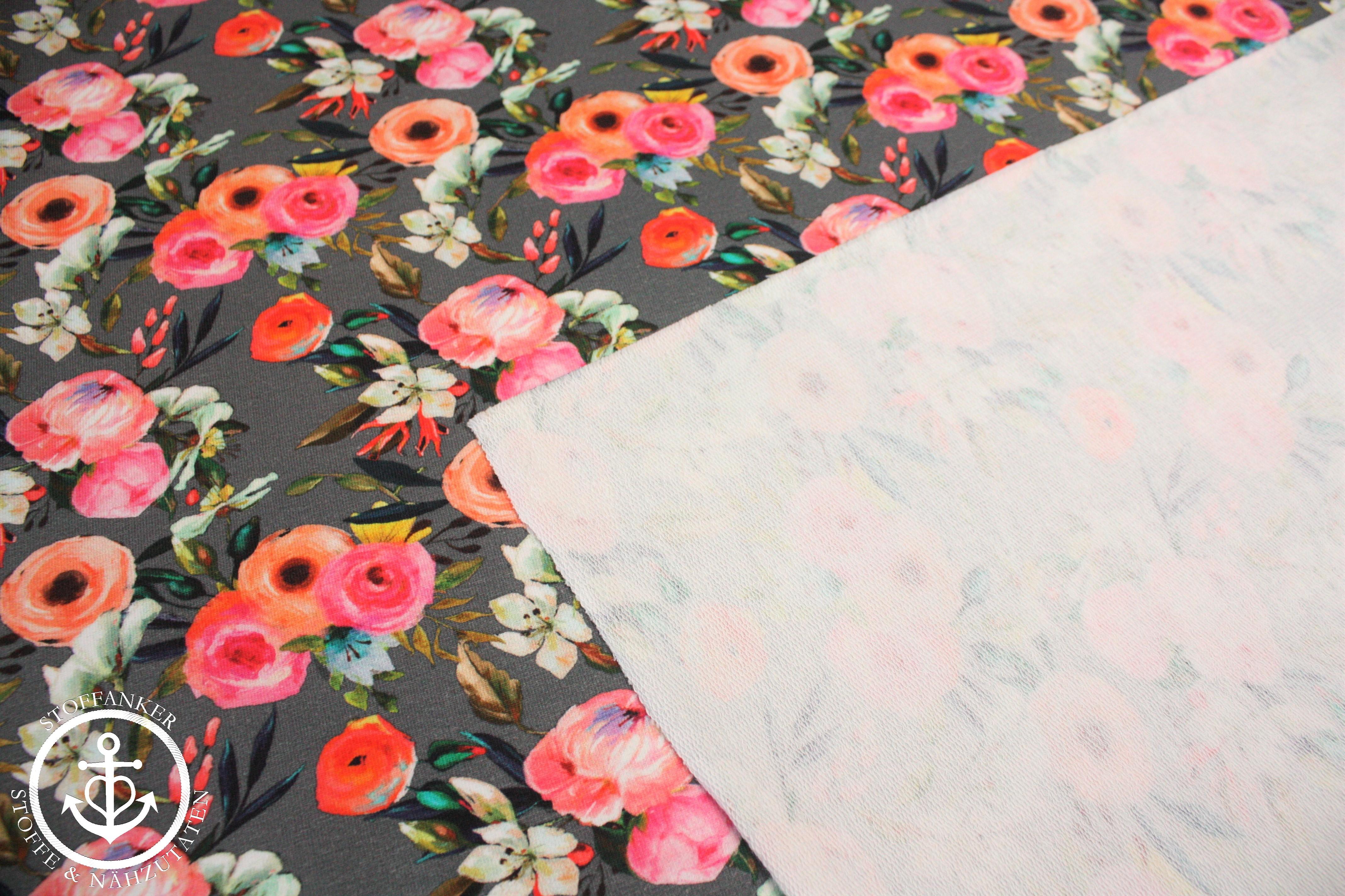 Preis=0,5m French Terry Stoff Digitaldruck Blumen Streifen bunt Sommersweat
