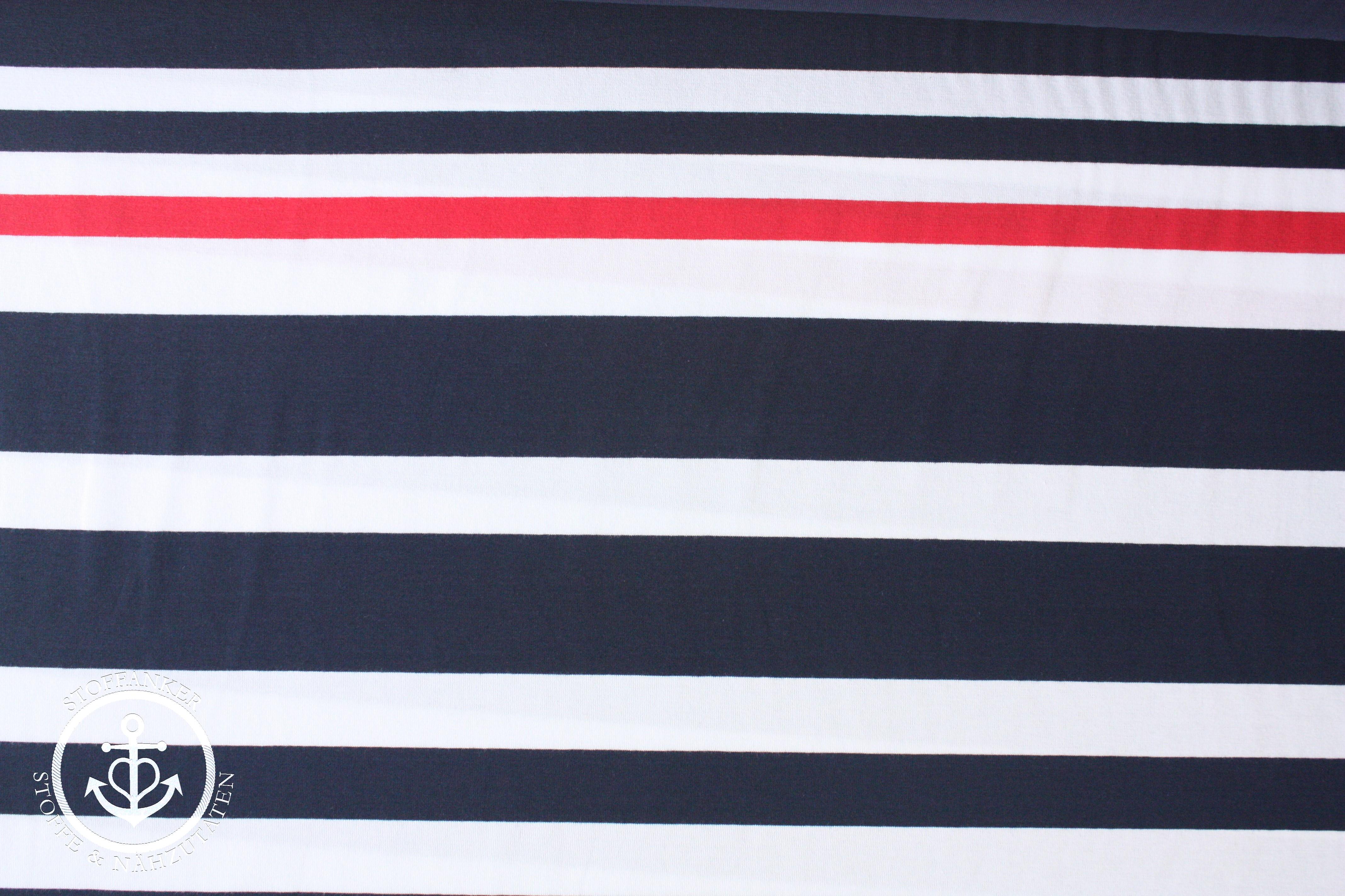 Dekostoff Maritim  0,50 x 1,40 Maritim Streifen blau//beige//weiß I