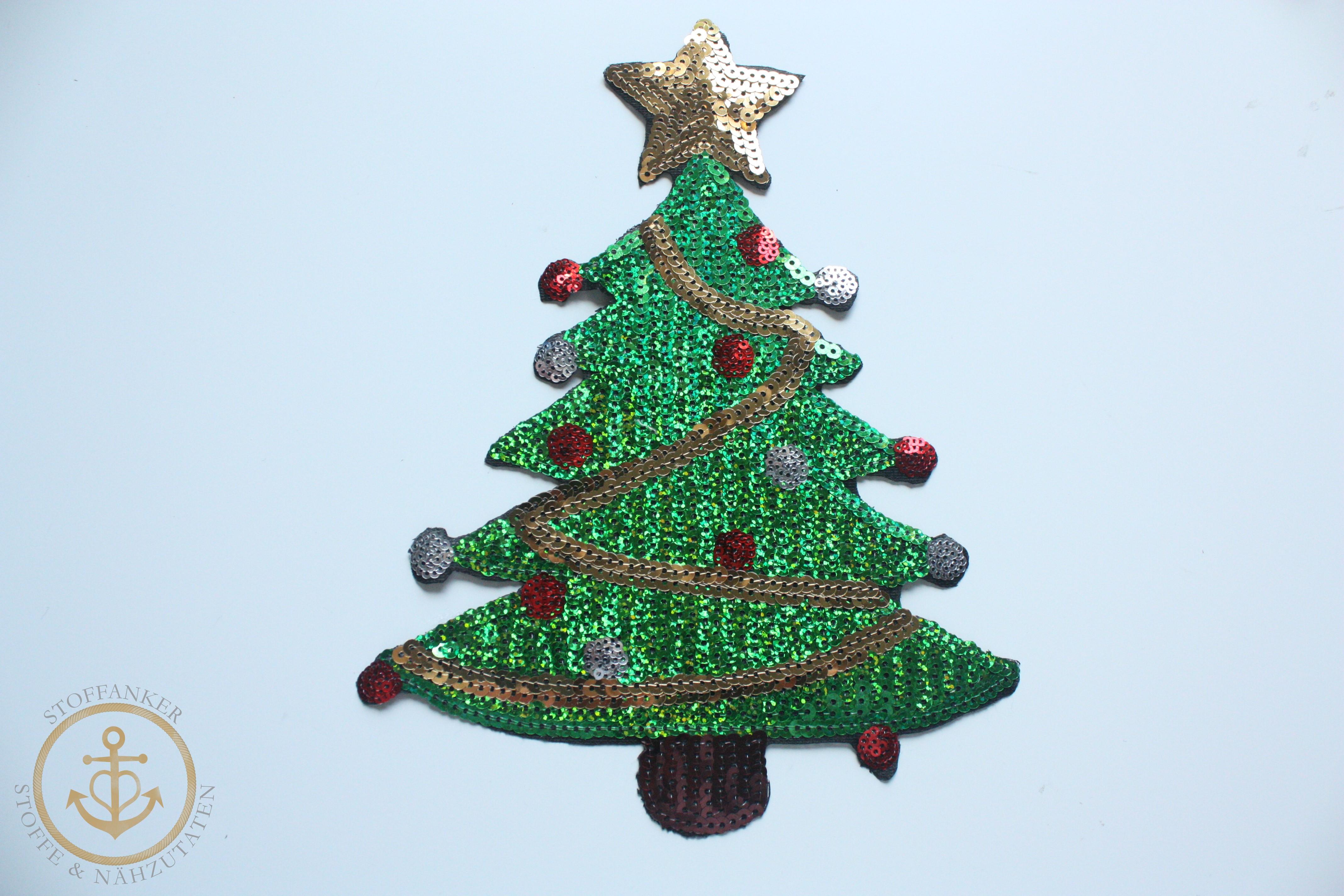 Wieso Tannenbaum Weihnachten.Stoffanker De Xl Weihnachtsbaum Patch Tannenbaum Pailletten